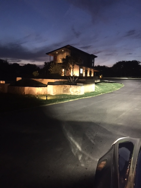 night time exterior image of luci temple insurance agency office